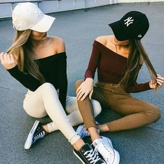 Cute outfit. Baseball hat. Off the shoulder top. Cropped top. Converse. Black converse. White converse. More