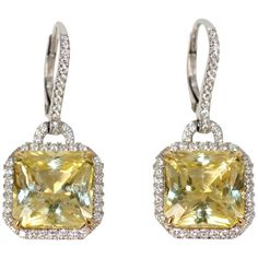 Pre-owned Yellow Sapphire & Diamond Earrings (1 038 800 UAH) ❤ liked on Polyvore featuring jewelry, earrings, chandelier earrings, diamond chandelier earrings, diamond jewellery, diamond earrings, pre owned jewelry and diamond jewelry