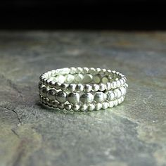 Sterling silver stackable rings - Tiny Bubbles     ...from Lavender Cottage Jewelry