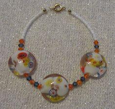 Lampwork Glass White Flower Beaded Earrings by SummerCAmber, $7.00
