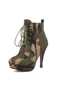 Army Green Camouflage Print Lace Up Booties @ Womens Fashion Boots,Combat Boots, Winter Boots,Riding Boots,Cowboy Boots,Cheap Boots,Wedge Booties,Ladies Fashion Boots,Thight High Boots,Girls Sexy Boots,Dress Boots,Knee High,Short,Ankle Boots,Black Boots,Wedge Lace Up Booties Shoes On Sale