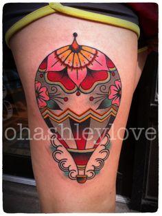 hot air balloon by ohashleylove #thigh #tattoos