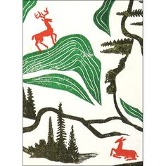 Deer in a Landscape Edward Bawden Christmas Card Pack (10 cards) − Christmas Cards − Christmas − Shop − Shop − National Galleries of Scotland
