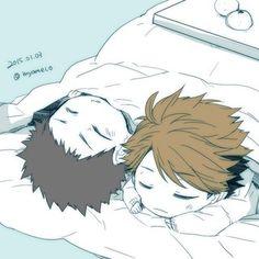 iwaizumi, oikawa, children, kotatsu, sleeping, http://www.pixiv.net/member_illust.php?mode=manga&illust_id=48044324
