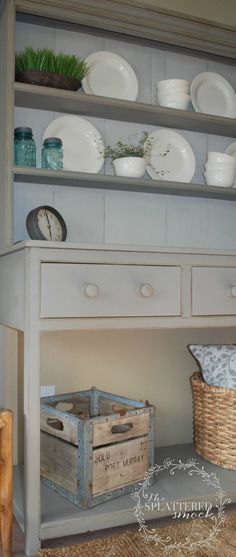 Farmhouse Hutch painted with Annie Sloan French Linen.