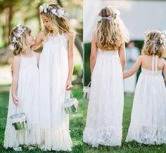 bec54ed1888 White Lace Halter Flower Girl Dresses For Beach Wedding Party 2016 Backless  Floor Length Girls Pageant Gowns Kids Formal Wear Cheap Dresses Monsoon  Flower ...