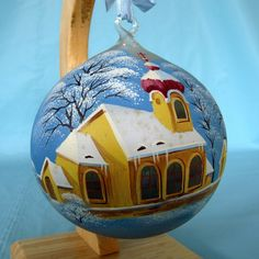 Ornament needs to be hung from a string or ribbon (included) in order to hang on your tree, as the loop is glass - see photos. Condition: Pre-owned, good condition. No chips or cracks. Painted details intact.   eBay!