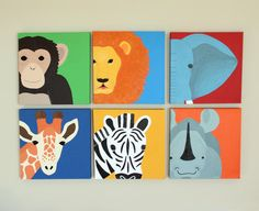 Safari nursery paintings on canvas Modern by wallfrypaintings, $270.00