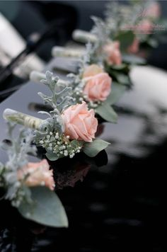 #slubne #kwiaty #bouquet #elegant #wedding #flower #white #pink #rose #manufakturaslubna #sluby #car #decoratons