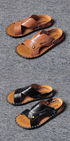 Prelesty Summer Soft Leather New Men Sandal Shoes Beach Outdoor Simple Breathable Comfortable High Quality Men's Sandals, Blue Sandals, Palm Beach Sandals, Leather Sandals, Mens Slippers, New Man, Cow Leather, Men's Shoes, Men Casual