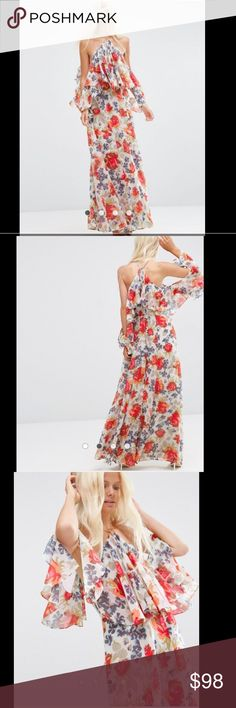 """ASOS Floral Maxi Dress Brand New Beautiful Multi-color Floral Maxi Dress. This dress is festive and amazing for any event. Lightly worn for a photoshoot - in great condition.                                     PRODUCT DETAILS: Maxi dress by ASOS Collection  Woven fabric Halter neckline Extreme cold shoulder design Ruffle detail - two side slits  Regular fit - true to size Machine wash 100% Polyester Our model wears a UK 8/EU 36/US 4 and is 178cm/5'10"""" tall ASOS Dresses Maxi"""