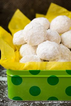 Pin for Later: 55 of the Easiest Dessert Recipes Out There Lemon Snowball Cookies Get the recipe: lemon snowball cookies. Lemon Desserts, Köstliche Desserts, Lemon Recipes, Sweet Recipes, Dessert Recipes, Italian Desserts, Drop Cookies, Lemon Cookies, Yummy Cookies