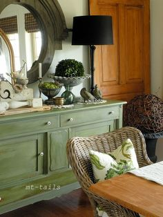 Boxwood green milk paint on the cabinet