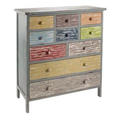 Rustic Multi Coloured 10 Drawer Chest