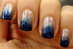 China Glaze – Fairy Dust (base) Essence – Live Forever (sponge) Essie – Midnight Cami (sponge) getting my nails done like this tomorrow for my birthday Navy Blue Nails, Blue Ombre Nails, Homecoming Nails, Prom Nails, Trendy Nails, Cute Nails, Essie, Cowboy Nails, Nail Lacquer