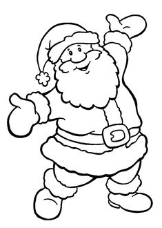 Happy Santa coloring pages for kids, printable free