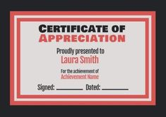 Customize this certificate of appreciation which has a Black Background with  Block red  Border! Click on template to edit! Certificate Of Appreciation, Name Signs, Names, Templates, Red, Black, Stencils, Black People, Name Labels