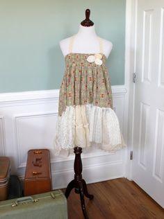 Shabby Boho Halter Dress Top Tunic Country Girl by JosefineandMe, $48.00