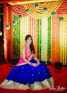 Royal Blue with pink Half saree Lehenga Tent Decorations, Wedding Stage Decorations, Engagement Decorations, Half Saree Lehenga, Bridal Lehenga, Bollywood Lehenga, Sarees, South Indian Bride, Indian Bridal