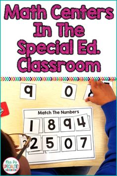 Organizing and running math centers in the special education classroom IS possible! Here are tips on how to add structure the centers and ideas for resources to use in the math centers.