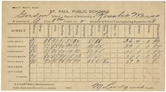 Report card issued to eight-grade student Rosalie [sic] Weiss by the Gordon School in St. Paul for the school year. School Report Card, Minnesota Historical Society, Sewing Men, Report Writing, Eighth Grade, Grammar, Spelling, Language, Student