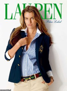 Classic. Navy blue blazer, golden buttons, and striped shirt with white cuffs and collar. Ralph Lauren knows how it's done.