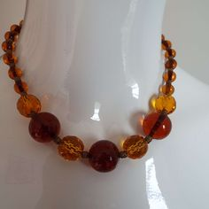 Vintage Art Deco French Glass Beaded Choker Necklace 1930's Tangerine & Amber Colour by VintageBlackCatz on Etsy