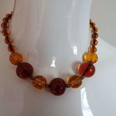 Vintage Art Deco French Glass Beaded Choker Necklace 1930's Tangerine & Amber Colour by VintageBlackCatz on Etsy