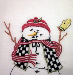 Christmas/ Holiday Tea Towel  Embroidered Cotton by SimplySuzula, $5.50