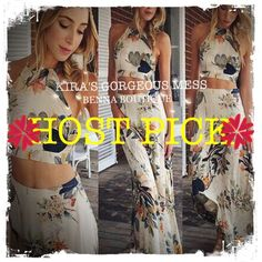 BNWT HOST PICKHalter w/ High Waist Long Skirt BNWT FLORAL PRINT HALTER TOP PAORED WITH A  HIGH WAIST MAXI SKIRT. Sexy, enduring and beautiful....turn heads as you walk down the street You will love this!!!!!  PLEASE PREORDER SO I CAN BUY CORRECT SIZES GOD BLESS Benna Boutique Dresses