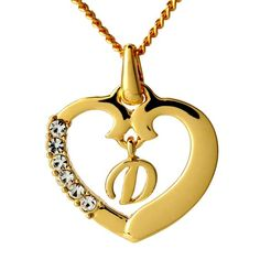 "Gold Heart Initial Necklace ""D"" - Gold Initial Heart Letter Necklace Pendant Gold Plated Including Free Gift Box & Bag Initial Necklace Gold, Letter Necklace, Gold Plated Necklace, Pendant Necklace, Gold Pendant, Pendant Jewelry, Monogrammed Gifts For Her, Heart Shaped Necklace, Letter Pendants"