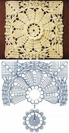 Beautifully detailed crochet square                                                                                                                                                      Mais