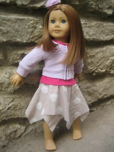 Handkerchief skirt diy tutorial for American Girl and other 18 inch dolls. From Me and My Gals