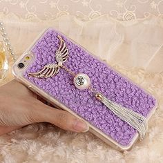 Soft TPU Tassel Flannel Case Cover for iPhone 6 6S - Purple