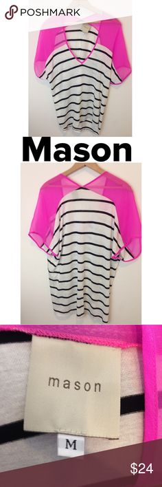 "Mason Contrast Top Black &White Stripes Pink Sheer A modern take on the classic black and white striped tee! This super soft Mason by Michelle Mason top features a bright pink sheer silk shoulder panel, creating a stunning color contrast against the understated stripes. Women's medium, bust: approximately 23"", length: approximately 25"". Body: 100% viscose, sheet: 100% silk. Mason by Michelle Mason Tops Tees - Short Sleeve"