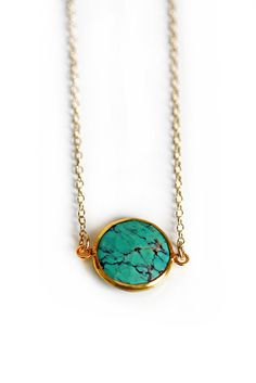 TURQUOISE coin necklace by shopkei on Etsy, $46.00