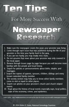 Ten Tips For More Success With Newspaper Research #ancestor #genealogy