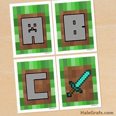FREE printable Minecraft Alphabet banner for your party. All letters from the Alphabet prints on x 11 from PDF files. Minecraft Classroom, Minecraft Banners, Minecraft Room, Minecraft Birthday Party, 6th Birthday Parties, 8th Birthday, Birthday Ideas, Chevron Banner, Bunting