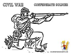 01 civil war army soldier at coloring pages - Civil War Coloring Pages Print