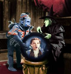 """""""The Wizard of Oz"""". One of the Flying Monkeys sent to capture Dorothy, (Judy Garland) seen in the crystal ball. The Wicked Witch of the West, played by Margaret Hamilton. Margaret Hamilton, Wizard Of Oz Movie, Wizard Of Oz 1939, Broadway, Science Fiction, Haunted Forest, Cowardly Lion, Land Of Oz, The Worst Witch"""