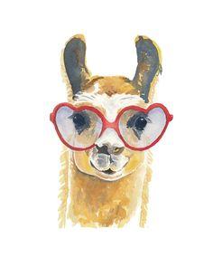 Llama Watercolor Painting Original - Llama Illustration, Heart Shaped Glasses, Nursery Art, 8x10. $41.00, via Etsy.