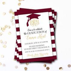 Graduation invitation graduation party invitation graduation monogram graduation invitation garnet graduation invitation filmwisefo