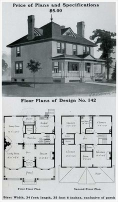 Radfor Homes plan no. 1903 Colonial Revival plan Add bath and remove 'closets' from main floor. Add bigger closets on floor. Sims 4 House Plans, Sims House, Dream House Plans, House Floor Plans, Building Plans, Building A House, Square House Plans, Four Square Homes, Vintage House Plans