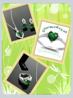 May's Birthstone of Emerald is believed to grant the owner the gift of foresight, good fortune and youth. Beautiful selection at www.silvermoonbay.net #emerald #ring #necklace #jewelry #birthstone #trendy #fashion #pretty #bling #gold