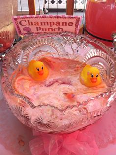 Girls baby shower punch with rubber duckies