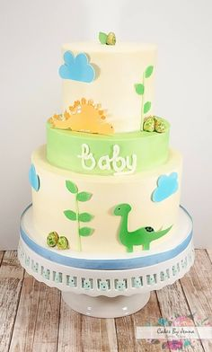 Dinosaur Baby Shower Cake by Cakes By Jenna - Dublin & Stephenville, TX