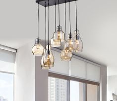 Pendant Lighting Kitchen Dining Room Rustic Multiple Lights Dangling Glass Iron #TheLightingStore