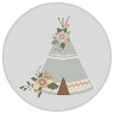 Floral Teepee PDF Cross Stitch Pattern Instant Download by Xrestyk