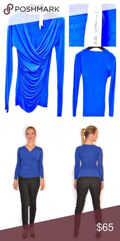 Bailey 44 Deep Blue Hourglass Long-Sleeve Top This once worn Bailey 44 jersey top will give any girl no matter her shape an hourglass figure. A classic and timeless piece for a night out, evening party or even a formal business occasion. Bailey 44 Tops