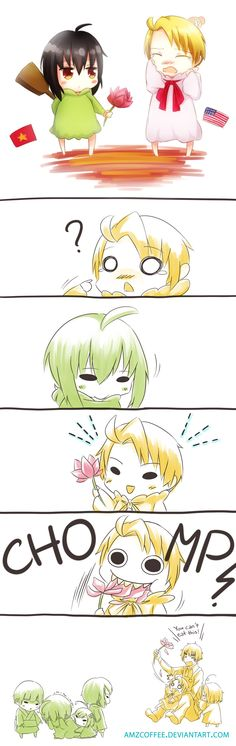 United Kindergarten by amzcoffee.deviantart.com on @deviantART - Hetalia characters in kindergarten...with all the shenanigans that would entail (like Kim - head-canon name for Vietnam - hitting Alfred with a paddle, and Alfred thinking a flower peace offering was edible). lol - Kids....